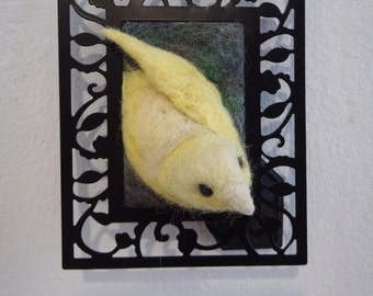 Canary - Needle felted / wool / bird / sculpture / framed / animal / yellow / decoration / picture / lifesize / pretty / art nouveau / wing