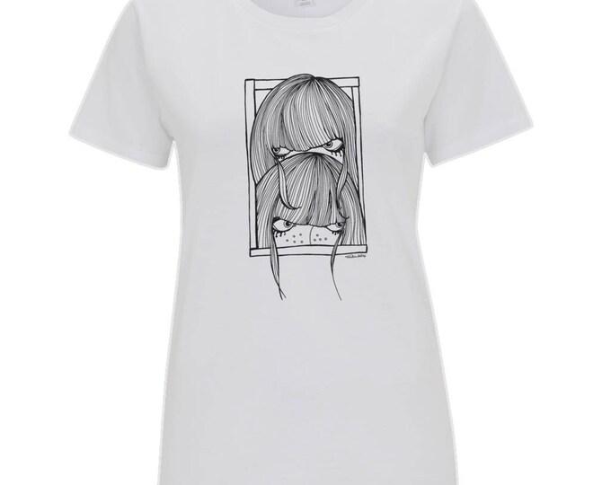 Seek Not Hide Shy Girls Original Line Drawing Women's Organic Cotton T-Shirt. White.