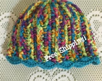 Groovy Baby Crochet Baby Hat Turquoise Multi - 0 to 3 Months - Free Shipping!