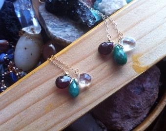 Norasmara Collection, Trio- Aquamarine,Emerald, and Garnet in Sterling Silver