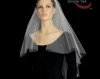 Elbow Length Bridal Veil, Cut Edge, Center Gathered