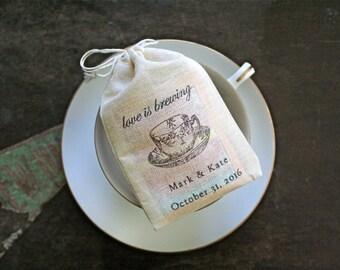 Wedding favor bags, set of 50 personalized coffee or tea favor bags, Love is Brewing, Bridal tea, wedding shower favor, cloth favor bag