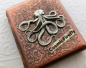 Big Octopus Cigarette Case Antiqued Copper Case Vintage Inspired Style Large Metal Case Gothic Victorian Steampunk Wallet Men's Wallet Metal