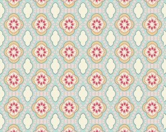 Robin's Egg Fabric - Chatsworth Tile Mint Fabric - Riley Blake Cotton