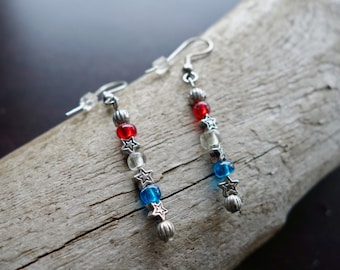 Red White and Blue Glass Bead Earrings | Star Dangles