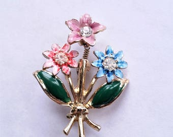Vintage Floral Brooch, Enamel Flower Trembler Pin, Rhinestone Costume Jewelry, Gifts, Valentines Gift, Mother of the Bride