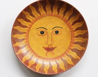 decorative hand-painted wooden plate - sun