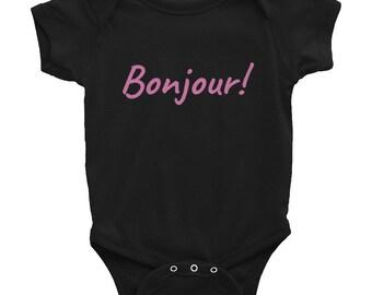 Bonjour Onesie! - Bonjour Baby - Paris - Parisian Baby - Bonjour Paris - Traveling Baby - Baby Passport - Bon Voyage - Gender Reveal - Baby
