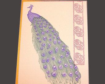 Letterpress Blank Card - Peacock design