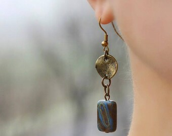 Bronze Earrings Boho Earrings Bronze Blue Earrings Boho Dangle  Earrings Modern Earrings Minimalistic Earrings Long Everyday Earrings Unique