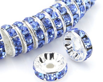 100 Light Sapphire Blue Silver Plated Crystal Rondelle Spacer Beads 6mm