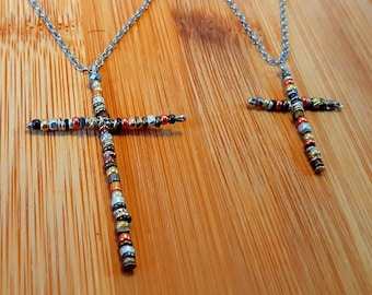 Women's Large Cross Necklace on Chain - From Israel Holy Land - Religious Faith Symbol - Simple Rustic Cross - Boho Gift- Crucifix Necklace