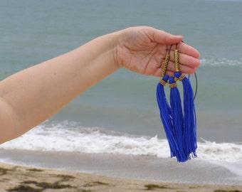 Blue boho necklace lapis bohemian necklace blue summer fringe necklace blue cord bohemian necklace tassel gold blue hindu necklace choker