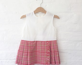 Vintage 60's Sheer White and Red Plaid Dress French New Old Stock Size 2-3 Years