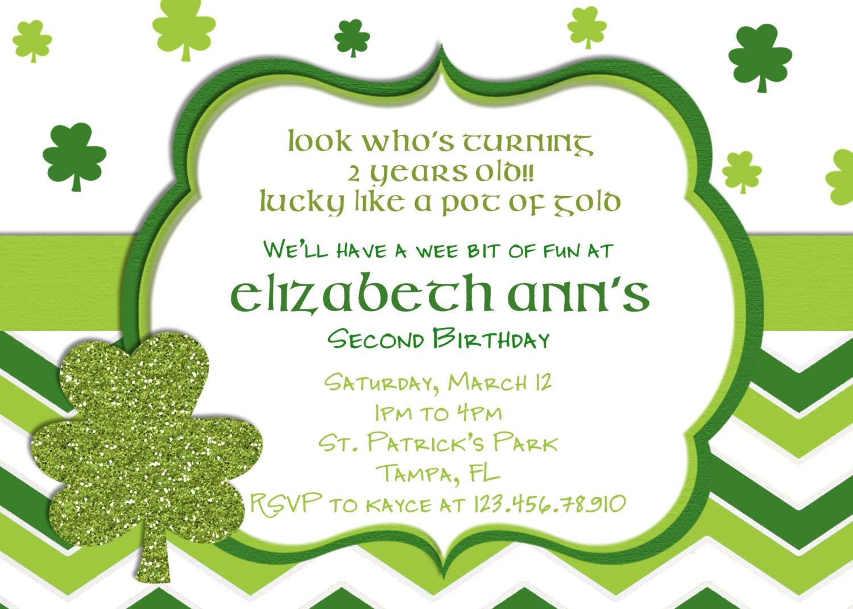 Lucky St Patricks Day Birthday Invitation Printable and Custom