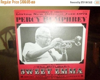 Save 30% Today Vintage Vinyl LP Record Percy Humphrey Featuring Sweet Emma Living New Orleans Jazz 1974 SIGNED by Humphrey & Six Band Member
