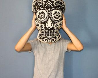 Sugar Skull Pillow, Plush Skull Pillow, Day of the Dead Cushion, Dia de los Muertos, Skull Face
