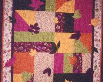 leaves Quilt PATTERN  PDF - Quilt - Wall Art - Throw - Baby Quilt - Leaves - Throw