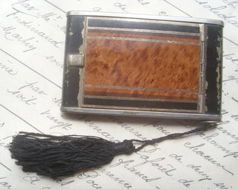 Original Antique French 1920's - 1930's Art Deco Compact & Lipstick.Ladies Fashion,Pocket Mirror