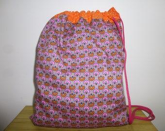 Snack bag in pink orange gray cotton
