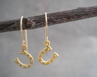Horseshoe Earrings - Lucky You - Equestrian - Good Luck Charm - Horse Lover- Gold Horse Shoe - Horseshoe Charm - Minimalist Earrings