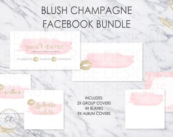 Lipsense FACEBOOK BUNDLE BLUSH Champagne - lipsense distributor social media branding kit- Digital Download - Digital Download