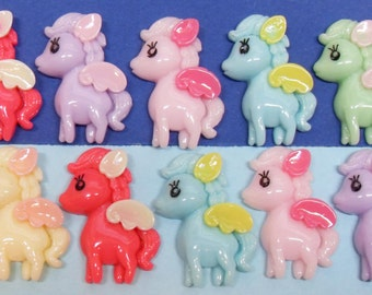 6x 30mm Pony Cabochons in Multicolours   ...Pegasus