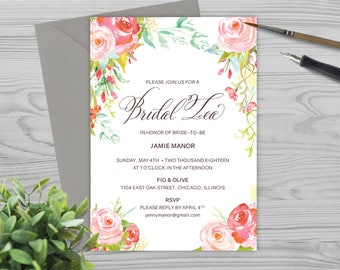 Wedding Shower Invitation Template - Bridal Shower Invitation Template - Watercolor and Flowers - Photoshop Template - PW1714