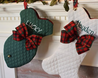 Bone Christmas Stockings - Traditional Personalized Stocking - Fish or Bone with Jingle Bell Stocking - Best Gifts by Three Spoiled Dogs