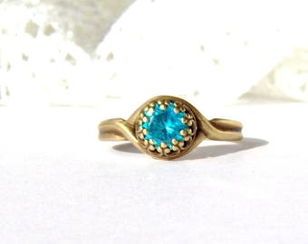 Antique brass Aquamarine CZ adjustable crown ring / March birthstone / 6mm Aqua ring / promise ring / Mothers Day gift / girlfriend gift
