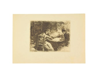 MAX LIEBERMANN – La soupe or Mid-Meal 1901 Etching Beaux Arts
