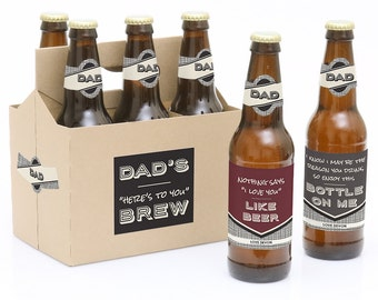 Father's Day Beer Labels - Dad, I Must Confess - 6 Beer Bottle Labels & 1 Carrier - Personalized Fathers Day Beer Gift