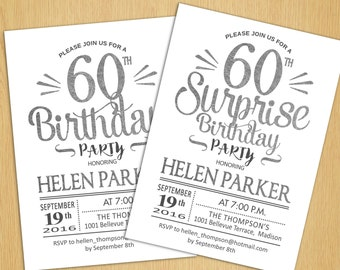 Surprise 60th Birthday Invitation / Any Age / Silver White / Printable Silver Foil Effect / Digital  Invite