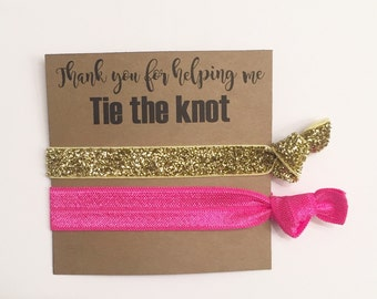 Bridesmaid hair tie favor//hair tie card,party favor, bridesmaid gift, bachelorette gift, elastic hair ties,
