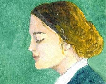 "beautiful woman painting  ""A Meditating Woman ""  desk art beautiful woman figure portrait painting"