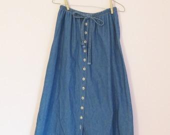 Vintage 90s Denim Tie-Waist Midi Skirt