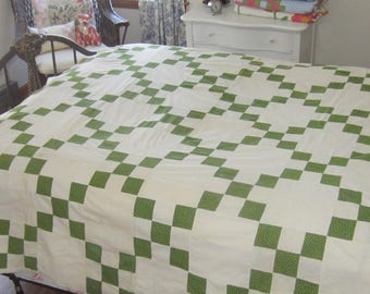Wonderful Classic Antique Green and White Single Irish Chain Quilt Top 78X68""