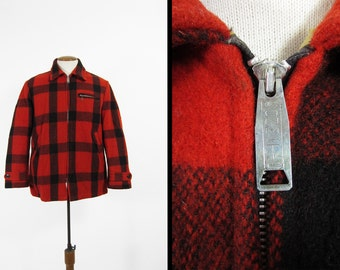 Vintage 50s Hunting Coat Buffalo Plaid Red Wool Jacket - Size Medium
