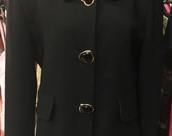 1980' Georges Rech black wool jacket, heart buttons. Size M.