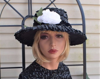 Vintage 50's 60's Black Straw Floppy Wide Brim Hat Size M - Union Label
