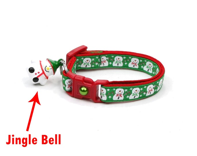 Snow Cat Collar - Jolly Snowmen on Green - Small Cat / Kitten or Large(standard) Size Collar