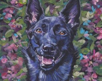 Dutch Shepherd dog art portrait CANVAS print of  LA Shepard painting 8x8