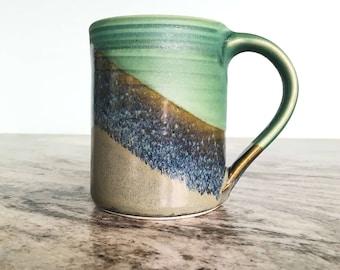 Ceramic Handmade Mug --   Grey / Olive  glaze combo-  Stoneware clay mug -  ceramic handmade large mug