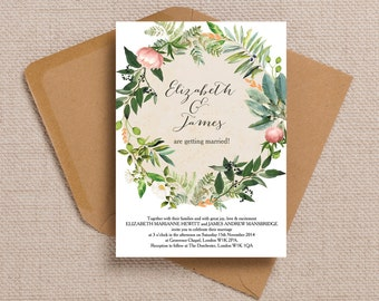 Personalised Green and Blush Flora Wreath Wedding Invitation & RSVP with envelopes