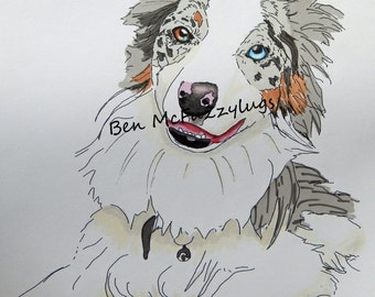 Border Collie Digital Dog Portrait, Custom dog drawing, Personalized Dog Art, Sketch of your dog