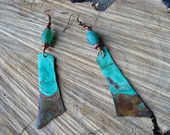 Asymmetrical enameled copper earrings