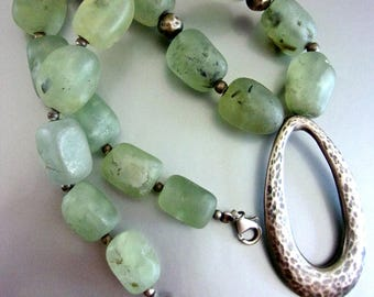 Green Chrysoprase Sterling Necklace, Gemstone, Organic Formed Stones, Vintage