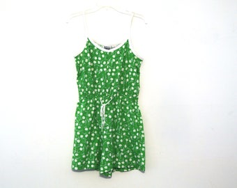 Vintage 80s romper floral onesie one piece tank top shorts daisy pattern green white yellow 90s
