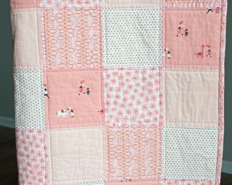 Baby girl quilt. Baby patchwork quilt. Baby blanket. Minky baby blanket. Whimsical baby quilt.