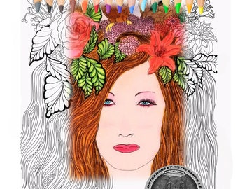 Adult coloring Book. coloring pages, women, owl